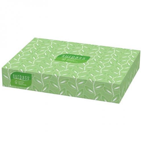Surpass Facial Tissue Flat Box, 2-Ply, White, Unscented (100 tissues per box, 30 boxes)