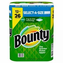 Bounty Select-A-Size Paper Towels, White (108 sheets/roll, 12 ct.)