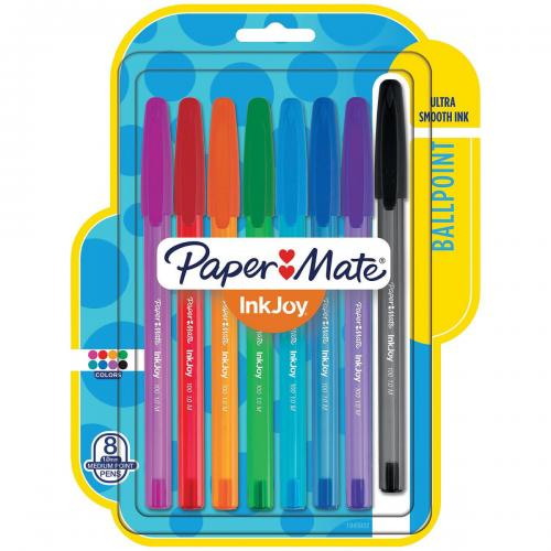 Paper Mate - InkJoy 100 Stick Pen, 1.0 mm, Assorted - 8/Set
