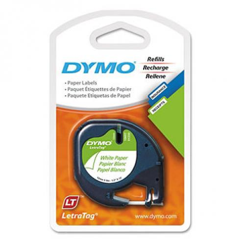 DYMO LetraTag - 10697 Paper Label Tape, 1/2, White - 2 Pack