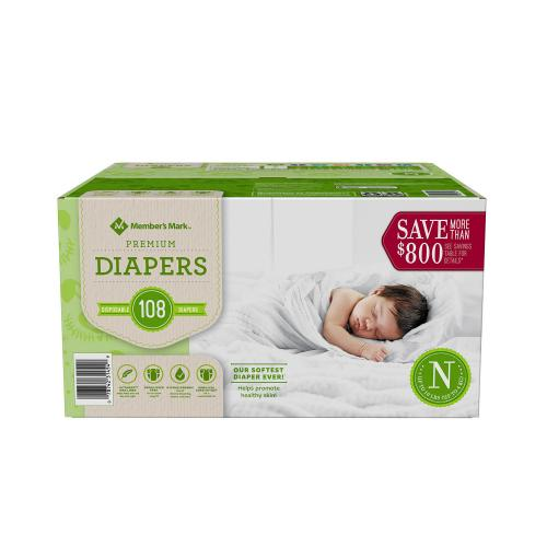 Member's Mark Premium Baby Diapers  Newborn -108 ct. (0-10 lbs.)