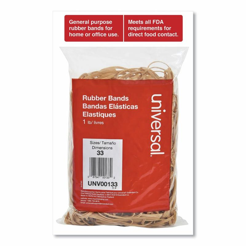 Universal Rubber Bands, Size 33, 0.04 Gauge, Beige, 1 lb Box, 640/Pack of 2