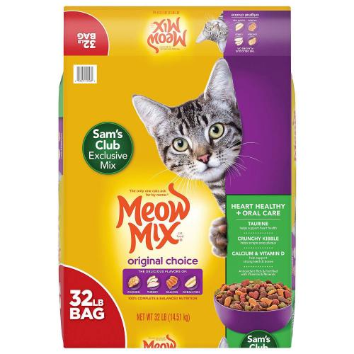 Meow Mix Original Choice Dry Cat Food, Heart Health & Oral Care Formula (32 lbs.)