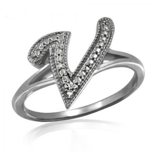 JewelersClub White Diamond Sterling Silver Initial Spell it Out Ring
