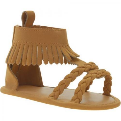 First Steps By Stepping Stones Newborn Baby Girl Faux Suede Braided Fringe Sandal