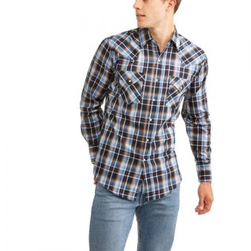 Plains Men's Long Sleeve Basic Snap Western Shirt