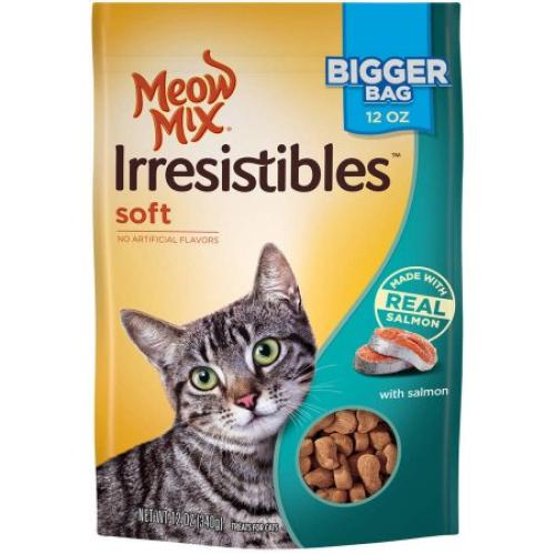 Meow Mix Irresistibles Cat Treats, Soft with Salmon, 12 oz