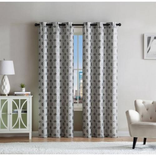 VCNY Home Geometric Jacquard Eli Grommet Top Window Curtains, Set of 2, Multiple Sizes and Colors Available