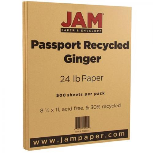 JAM Paper Recycled Paper, 8.5 x 11, 24 lb Ginger Passport, 500 Sheets/Ream