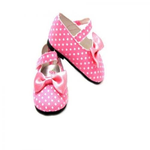 Arianna Polka Dot Pink Mary Jane Shoes Fits most 18 inch dolls
