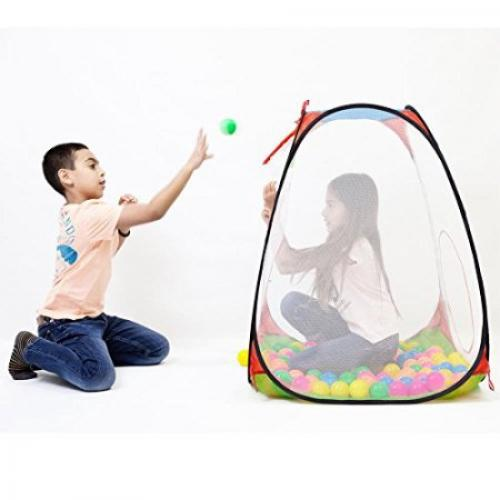 Kid's Mesh Pop Up Playhouse Tent and Ball Pit with Basketball Hoop & 100 Colorful Balls