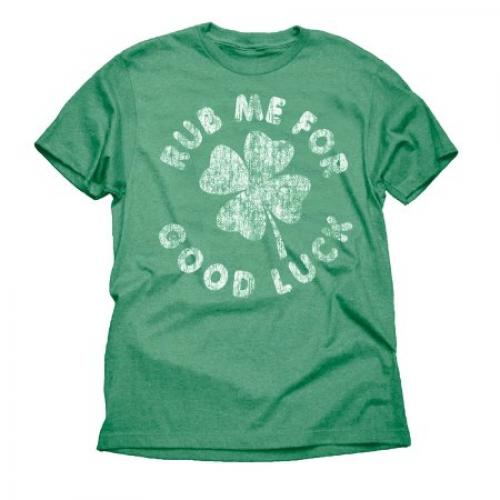 Rub Me For Good Luck Four Leaf Clover Irish Funny Big Mens Green Graphic Tee Shirt