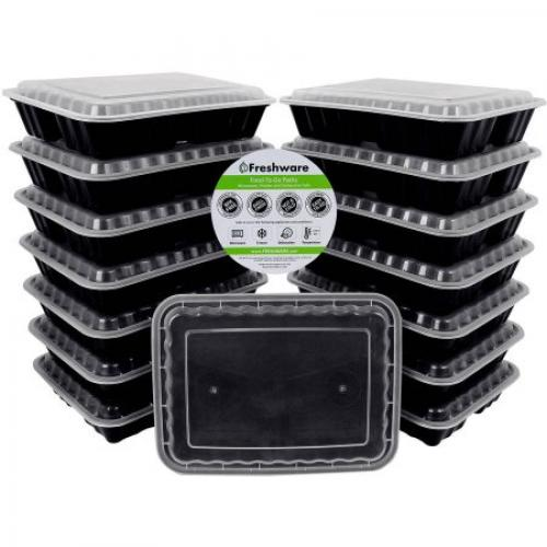 Freshware 15-Pack 3-Compartment Lunch Bento Box Reusable and Microwavable Food Container with Lids, YH-9598