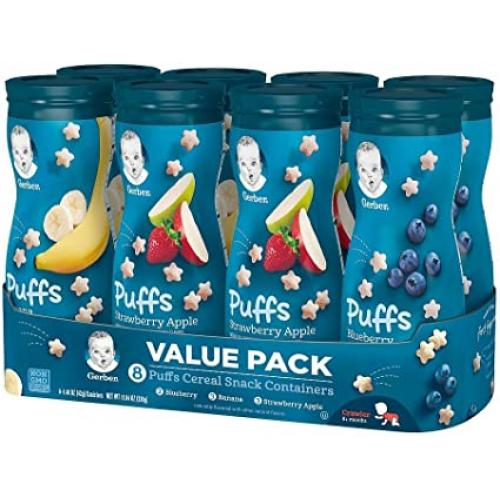 Gerber Graduates Puffs Cereal Snack Variety Pack (1.48 oz., 8 ct.)