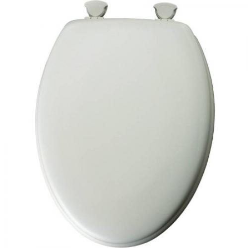 Mayfair White Elongated Traditional Wood Toilet Seat