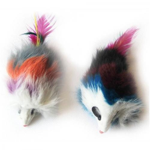 6-Pack Multi-Colored Long Hair Fur Mice, Assorted, 12 Pieces