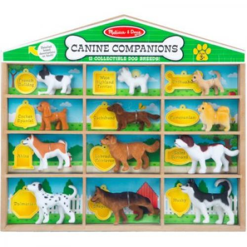 Melissa & Doug Canine Companions Pretend Play Figures, 12 Collectible Dog Breeds