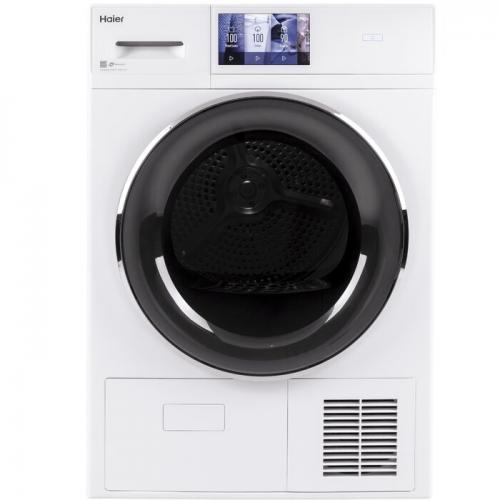 Haier Smart Appliances 4.1 cu. ft. High Efficiency Smart Electric Stackable Dryer With Reversible Door in White