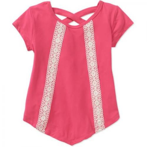 One Step Up Toddler Girls Fashion Mix Tunic with Crochet Trim