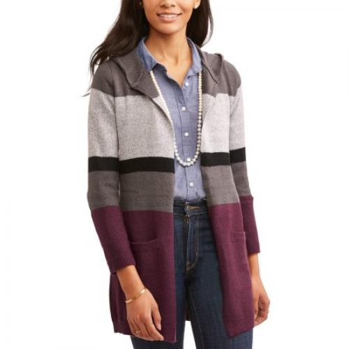 No Comment Women's Colorblock Cardigan With Hood