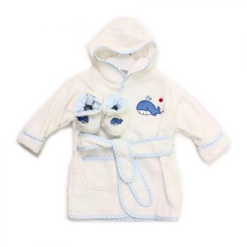Spasilk Terry Bathrobe with Booties, Blue Plane