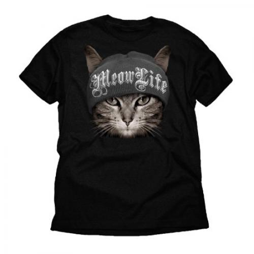 Meow Life Thug Life Funny Cat Big Mens Graphic Black Tee Shirt
