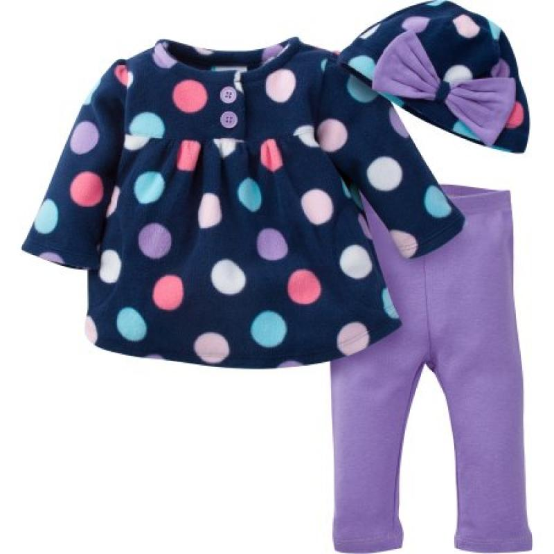 Gerber Newborn Baby Girl Microfleece Button Jacket, Pant & Hat 3pc Outfit Set