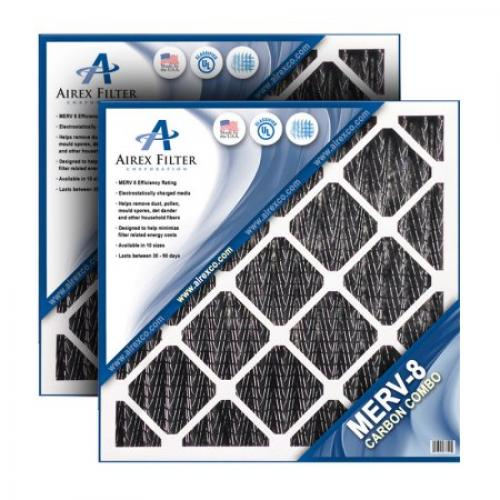 Airex 12x12x2 Carbon MERV 8 Pleated AC Furnace Air Filter, Box of 3 - (Actual Size: 11.75 x 11.75 x 1.75)