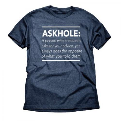 Askhole Funny Attitude Big Mens Heather Navy Graphic Tee Shirt
