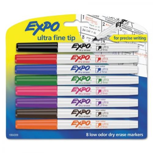 EXPO Low-Odor Dry-Erase Marker, Ultra Fine Point, Assorted, 8-Pack