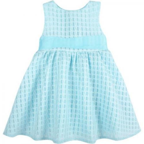 G-Cutee Toddler Girls' Aqua Textured Dress with Grosgrain Ribbon