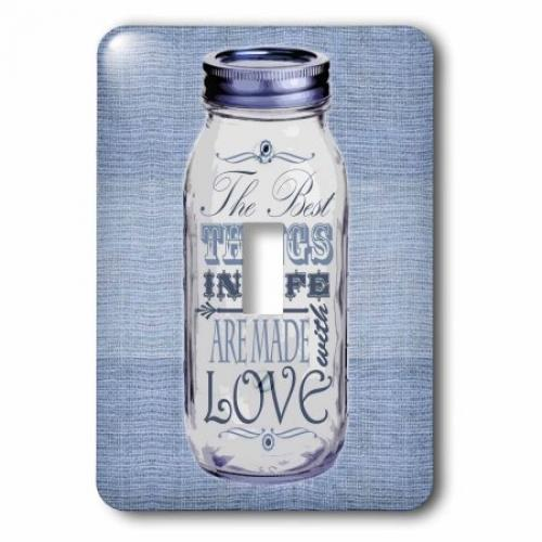 3dRose Mason Jar on Burlap Print Blue - The Best Things in Life are Made with Love - Gifts for the Cook, 2 Plug Outlet Cover
