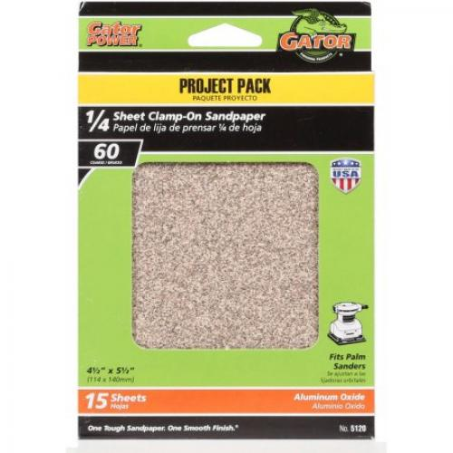 Gator Grit 4.5 x 5.5 1/4 Sheet Clamp-On Sandpaper, 60G, 15pk
