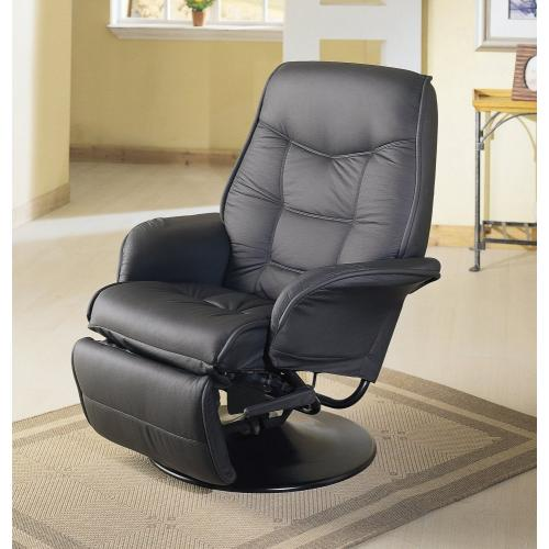 Coaster Home Furnishings Leatherette Berri Swivel Recliner with Flared Arms, Black