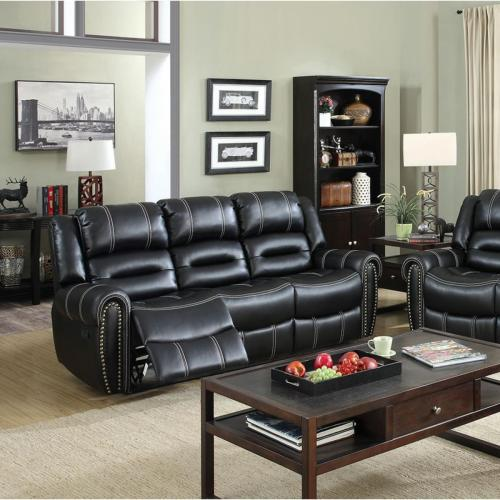 Furniture of America Frederick Living Room Sofa Loveseat Recliner Black Contrasting Stitching Contemporary Couch Plush Leatherette 2pc Sofa Set
