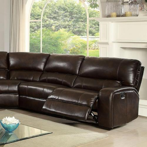Furniture of America Living Room Recliner Sectional Sofa Brown Console Storage Plush Cushion Brown Relax Couch Sectionals Modern Leatherette USA